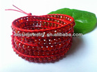 4mm Natural Red Carnelian Faceted Stones on 1.5mm red leather cord