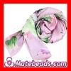 Painting Floral Natural Long Silk Scarves Wholesale
