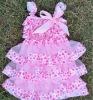 pink chiffon with polka satin dress
