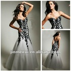 Best Selling Lace Appliqued New Fashion Sweetheart Organza Black and White Evening Dress Mermaid