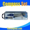Plastic box bow compass set with straight ruler