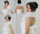 Attractive Wedding Jacket Organza with Handmade Flowers Sexy Back New Arrival J-003
