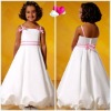 New 2012 loverly beautiful spaghetti strap A-Line sheath ruffle bow satin latest flower girl dresses
