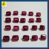 rectangle emerald cut synthetic red ruby gemstone