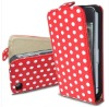 New Polka dot PU leather flip cover For IPhone 4 4s
