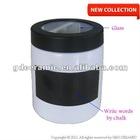 White Chalk Writing On Black Board Plastic Glass Lid Cylinder Ceramic Storage Jar