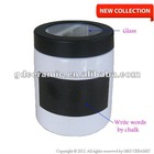White Chalk Writing On Black Board Plastic Glass Lid Cylinder Ceramic Storage Jar
