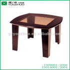 Antique short wooden end tables with glass YZ03
