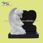 angel white marble and granit carved tombstone