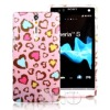 Colorful tpu case heart patterns for sony lt26i