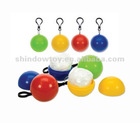 Plastic Poncho ball ,PE disposable rain poncho in ball with keychain