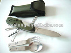 promotional gift multifunction cutlery with led light pocket knife
