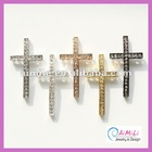 C-104 Wholesale Rhinestone Pave Sideways Cross