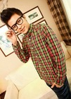 Classic Check Embellished Good Quality Man Shirt Orange NX12090517-2