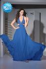 victorian royal blue beaded halter beaded buster evening dress