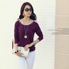 2012 New Design Crystal Ladies Sxy Cotton Plain Purple T-shirts
