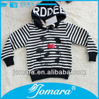Cotton pullover boy strip pattern kids hoodie with cap