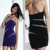 2013 one shoulder ruched beaded short mini custom-made purple cocktail dresses CWFac4944