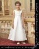A-Line Beading Embroidery Ankle-Length Heavy Satin Bridal Gowns Sleeveless Flower Princess Girl Dress