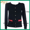 2012 Children design long sleeves black knitted cardigan KTS03#