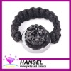 Black Crystal woven adjustable paved shamballa rings