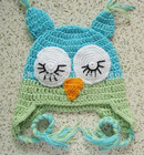knitted sleeping owl hats for kids handmade birthday gift baby hats , knitting baby photo prop,ear flap baby beanies
