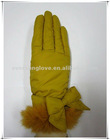 Lady's fashion fur gloves, waterproof gloves