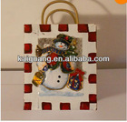 Christmas Metal/Tin Chritmas Snowman Shopping bag candle sconce holder