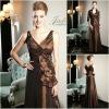 JM0170 V-neck appliqued deep brown long mother dress