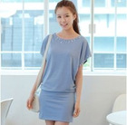 South Korea 11 years selling handmade pearl cherrykoko temperament bat sleeve round neck dress hip pack