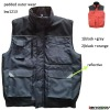 MENS PADDED BLACK AND GREY BODYWARMER FOR PROMOTION ITEM WITH REFLECTIVE TAPE