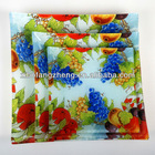square glass plate with fruit pattern decal
