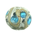 Bead, Oval Handmade Lampwork glass with silver foil, blue /silver white,15-16mm oval with lines by uomissionbeads.com