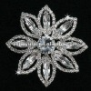 Latest 925 Sterling Silver Jewelry of Lady Clear CZ Diamond Flower Brooch