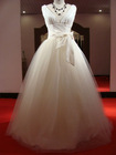 A-line V-neckline Tulle Over Satin Wedding Dress With A Bow