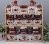 set of 12 sealed canister, food canister, ceramic jar with wooden holder