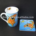 ceramic mug and heat resistant cork coaster