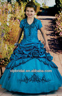 royal blue embroidery handmade flower kids wedding dress costume