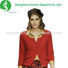 woman newest fashion long sleeve red fancy cardigan sweater