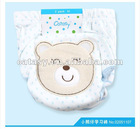 Pure cotton 3 layers waterproof TPU baby cloth diaper embroideried bear design