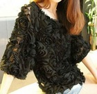 Wholesale Cheap Fashion Japanese Style Roses Short Sleeve O-Neck Chiffon Pullover Blouse (1207057)