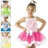 2012 New Style straps and rosettes flower girl dress CAC163