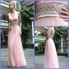 2012 Customer Made Off-Shoulder V Nack Sheath Rnffle And Beaded Satin And Thuller Evening Dress