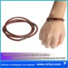 Optional Colors Rope Woven Leather Stainless Steel Bracelet Wristband Hot Gift 003