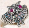 hot hip hop antique silver owl bangle with gemstone