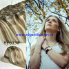 Top quality 16 inch,silk straight mixed color,color 8 mixed color 613 clips in hair extension