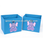 Cheap nonwoven folding bedroom storage cabinet, set of 2, printed elephant