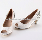 BS597 low heel lace peep toe bridal wedding shoes with clear crystals at back