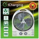"12"" Rechargeable Box Fan With LED & Radio"