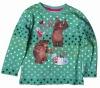 F3119#GREEN Child winter long sleeve martha cartoon t shirt